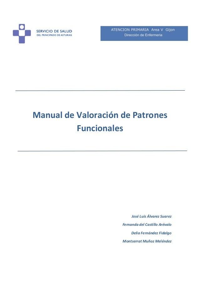 Manual de Valoración de Patrones Funcionales  José Luis Álvarez Suarez Fernanda del Castillo Arévalo Delia Fernández Fidal...