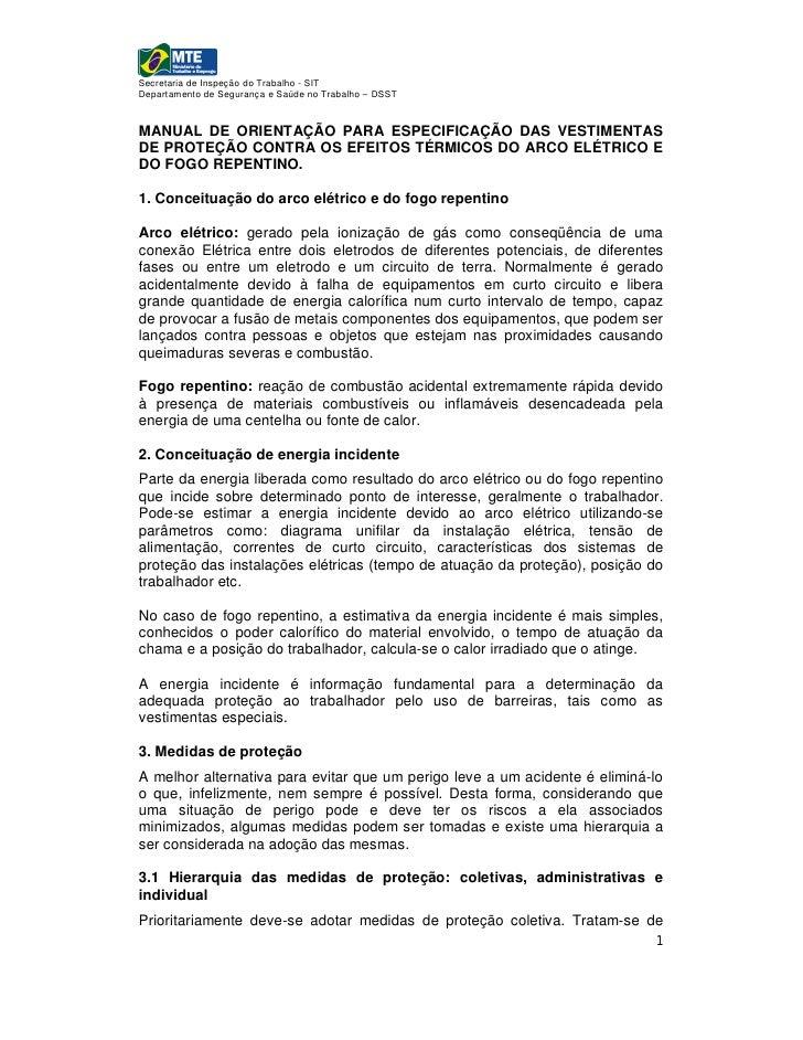 Secretaria de Inspeção do Trabalho - SITDepartamento de Segurança e Saúde no Trabalho – DSSTMANUAL DE ORIENTAÇÃO PARA ESPE...