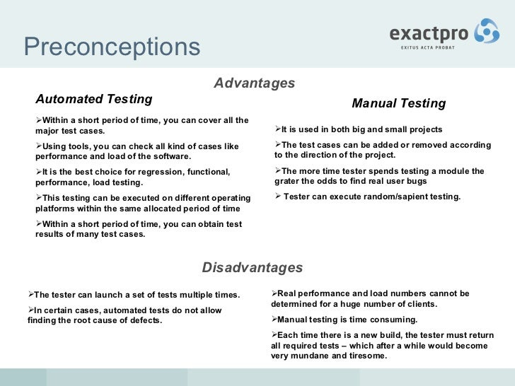 manual vs automated testing the chicken and egg question answered rh slideshare net manual and automation testing openings manual vs automation testing ppt