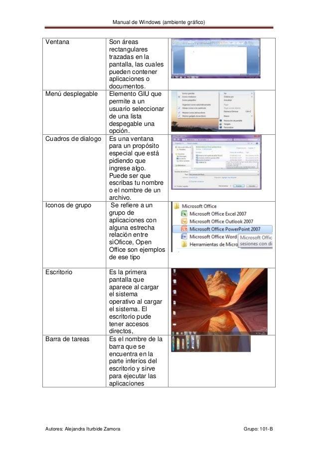 Manual de Windows (ambiente gráfico)Ventana                     Son áreas                            rectangulares        ...