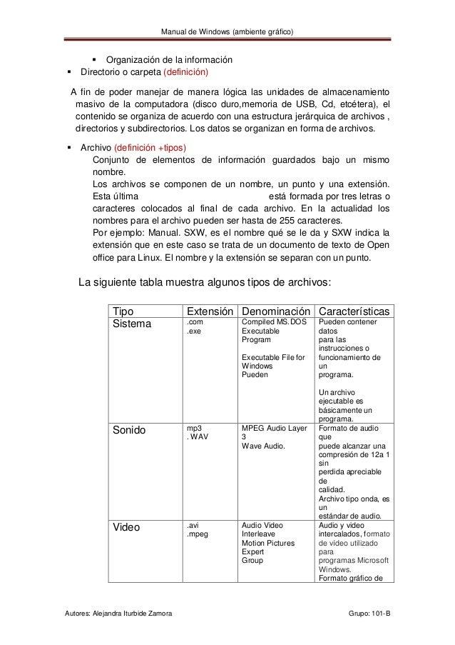 Manual de Windows (ambiente gráfico)         Organización de la información    Directorio o carpeta (definición) A fin d...