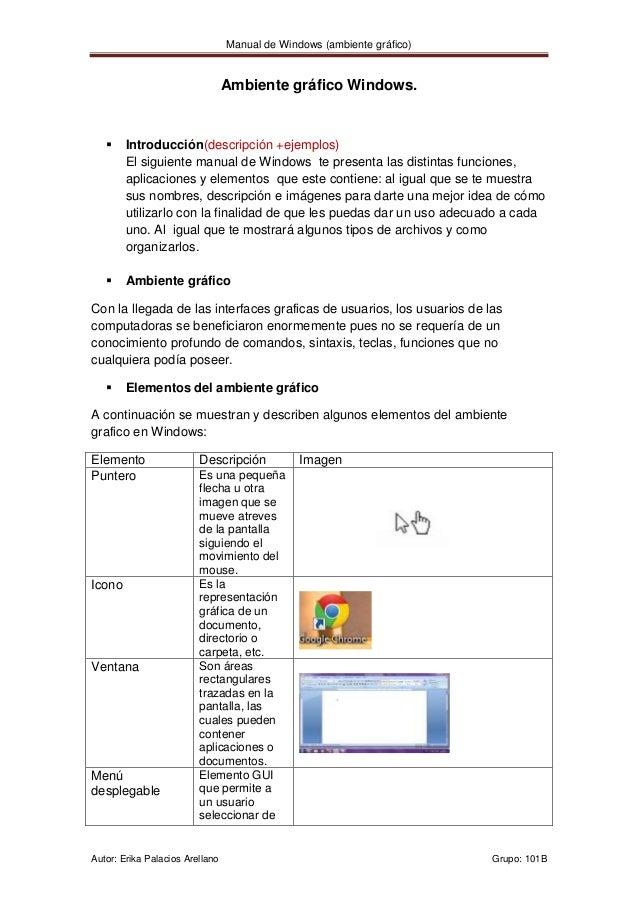Manual de Windows (ambiente gráfico)                                 Ambiente gráfico Windows.       Introducción(descrip...