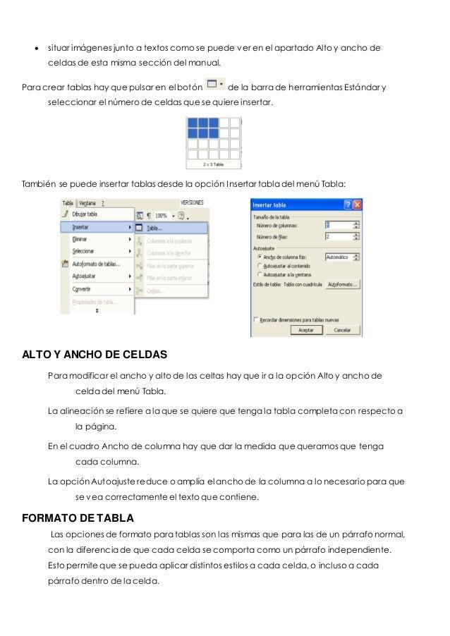  situar imágenes junto a textos como se puede ver en el apartado Alto y ancho de  celdas de esta misma sección del manual...