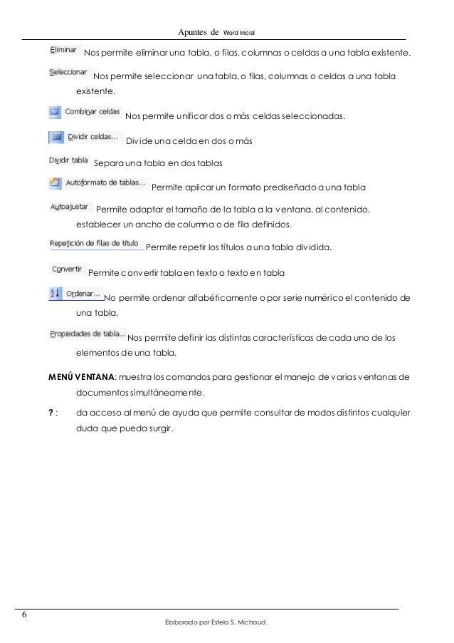 Apuntes de Word Inicial  Elaborado por Estela S. Michaud.  6  Nos permite eliminar una tabla, o filas, columnas o celdas a...