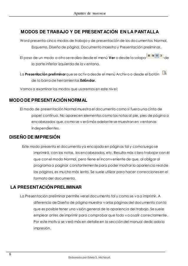 Apuntes de Word Inicial  Elaborado por Estela S. Michaud.  8  MODOS DE TRABAJO Y DE PRESENTACIÓN EN LA PANTALLA  Word pres...