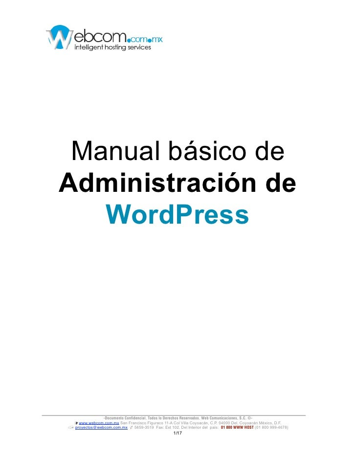 Manual básico deAdministración de   WordPress                 -Documento Confidencial. Todos lo Derechos Reservados. Web C...
