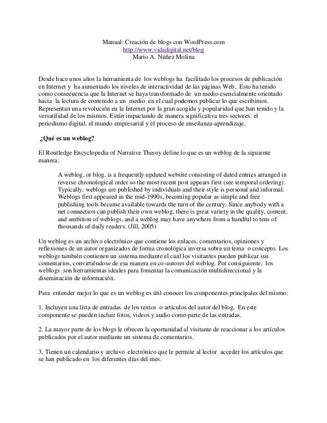 Manual: Creación de blogs con WordPress.com                                http://www.vidadigital.net/blog                ...