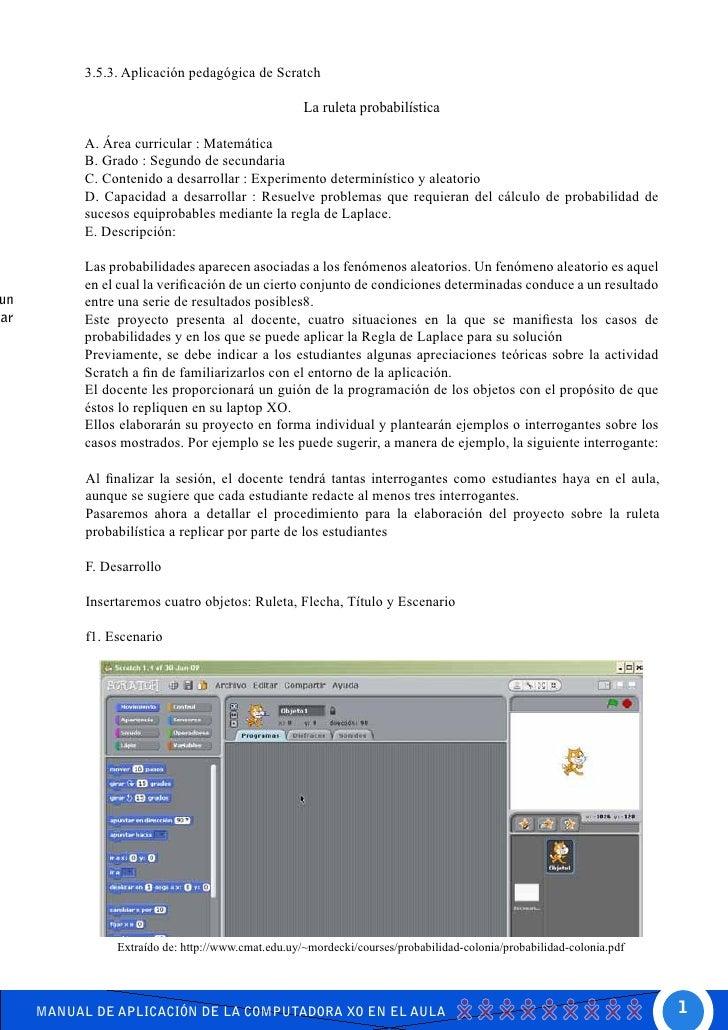 3.5.3. Aplicación pedagógica de Scratch                                                     La ruleta probabilística      ...