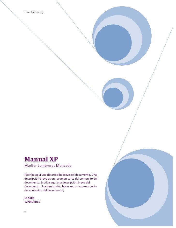 Manual XPMarifer Lumbreras Moncada[Escriba aquí una descripción breve del documento. Una descripción breve es un resumen c...