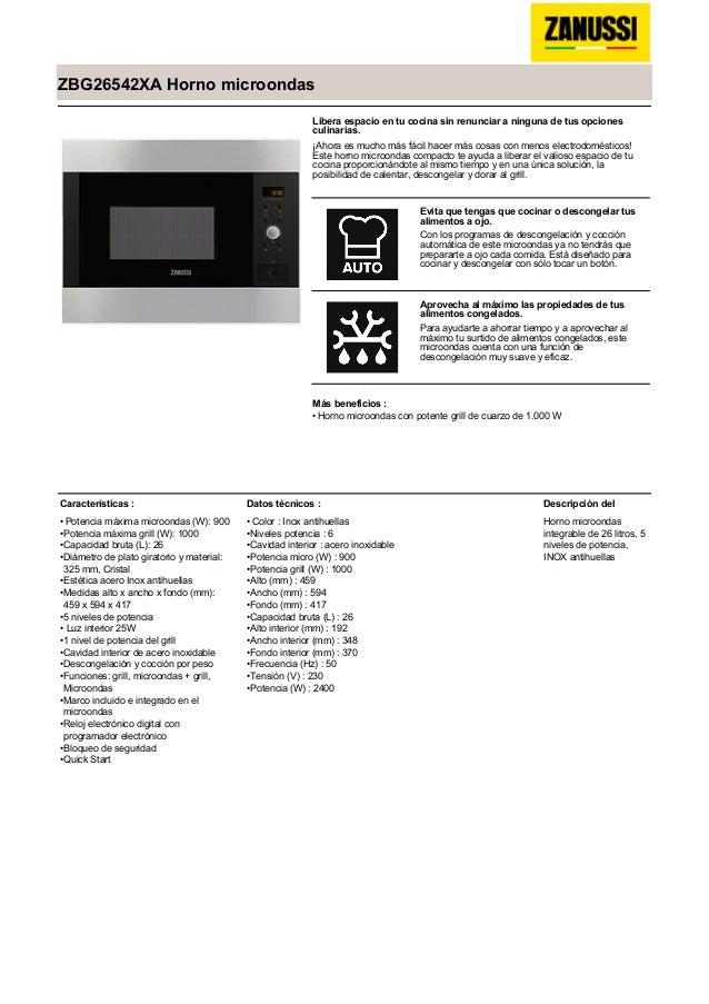 Manual zanussi horno microondas zbg26542xa for Manual tecnicas culinarias