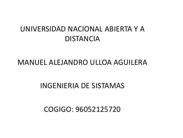 UNIVERSIDAD NACIONAL ABIERTA Y A DISTANCIA MANUEL ALEJANDRO ULLOA AGUILERA INGENIERIA DE SISTAMAS COGIGO: 96052125720
