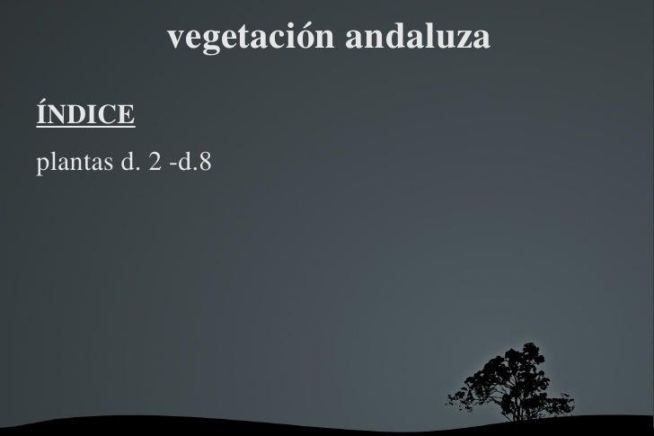 vegetación andaluza <ul>ÍNDICE <li>plantas d. 2 -d.8 </li></ul>