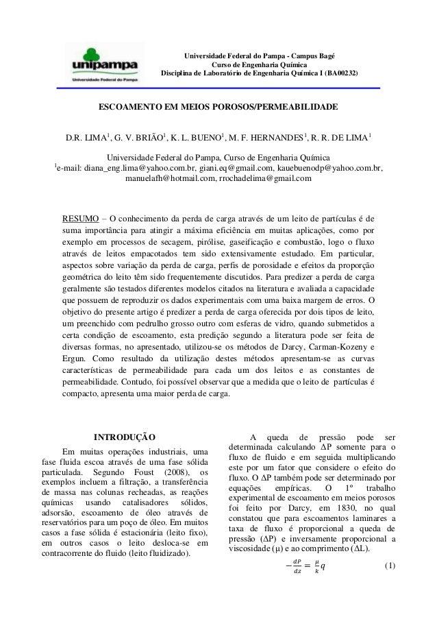 Universidade Federal do Pampa - Campus Bagé Curso de Engenharia Química Disciplina de Laboratório de Engenharia Química I ...