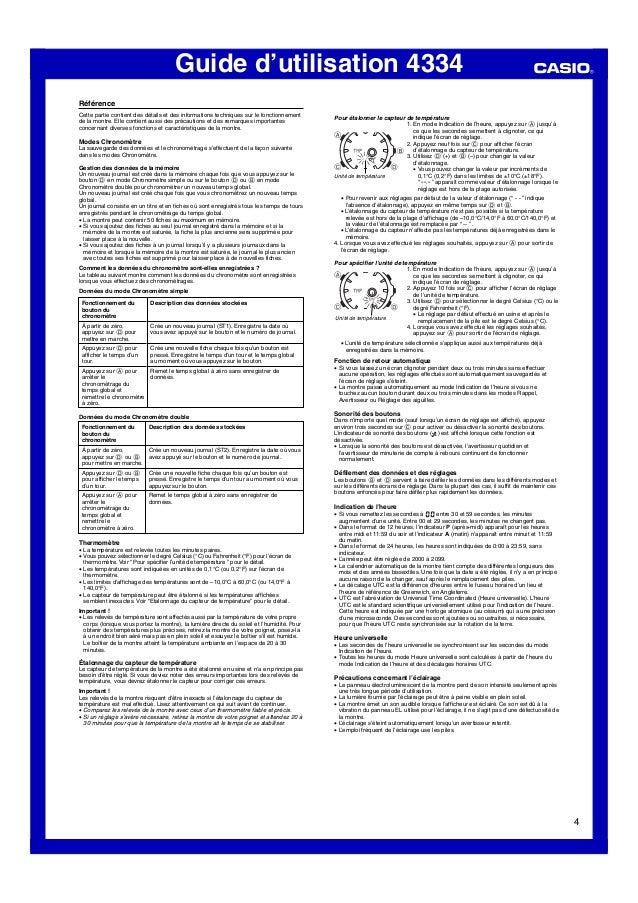 Guide d'utilisation 4334 4 Comment les données du chronomètre sont-elles enregistrées ? Le tableau suivant montre comment ...