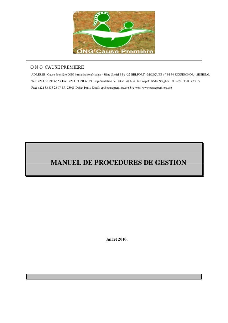 O N G CAUSE PREMIEREADRESSE : Cause Première ONG humanitaire africaine - Siège Social BP : 422 BELFORT - MOSQUEE s / Bd 54...