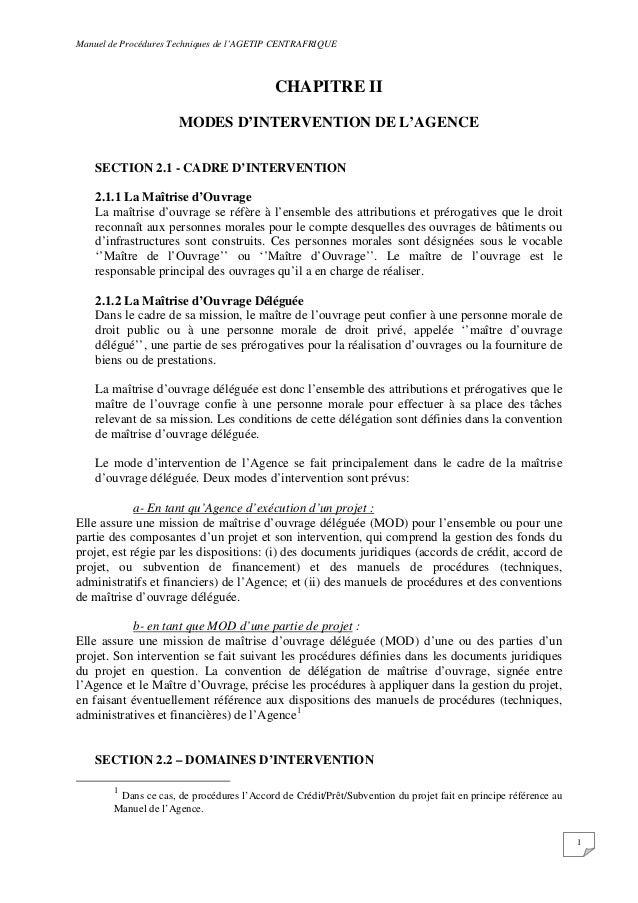 Manuel de Procédures Techniques de l'AGETIP CENTRAFRIQUE 1 CHAPITRE II MODES D'INTERVENTION DE L'AGENCE SECTION 2.1 - CADR...