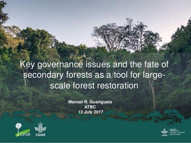 Key governance issues and the fate of secondary forests as a tool for large- scale forest restoration Manuel R. Guariguata...