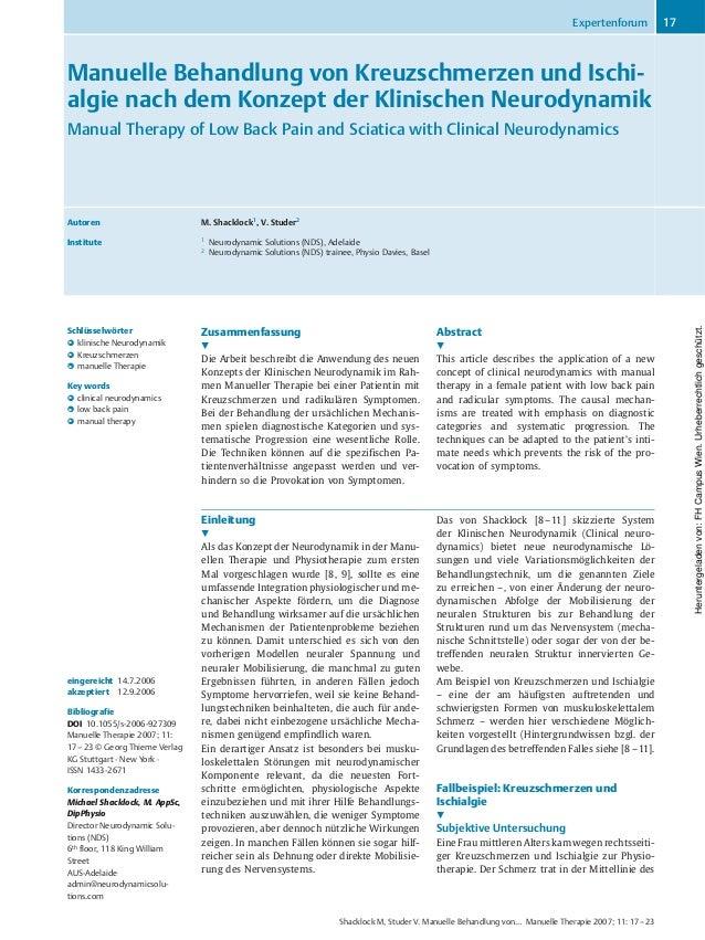 Manuelle Behandlung von Kreuzschmerzen und Ischi- algie nach dem Konzept der Klinischen Neurodynamik Manual Therapy of Low...