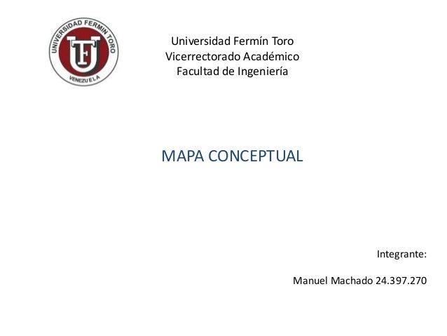 Universidad Fermín Toro Vicerrectorado Académico Facultad de Ingeniería MAPA CONCEPTUAL Integrante: Manuel Machado 24.397....