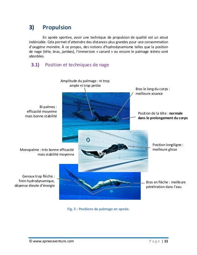 © www.apneeaventure.com P a g e   11 3) Propulsion En apnée sportive, avoir une technique de propulsion de qualité est un ...