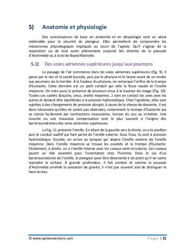 © www.apneeaventure.com P a g e   21 5) Anatomie et physiologie Des connaissances de base en anatomie et en physiologie so...