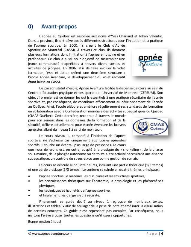 © www.apneeaventure.com P a g e   4 0) Avant-propos L'apnée au Québec est associée aux noms d'Yves Charland et Johan Valen...