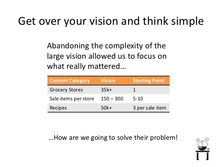 Get over your vision and think simple<br />Abandoning the complexity of the large vision allowed us to focus on what reall...