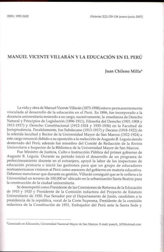 Manuel Vicente Villarán y la educación en el Perú