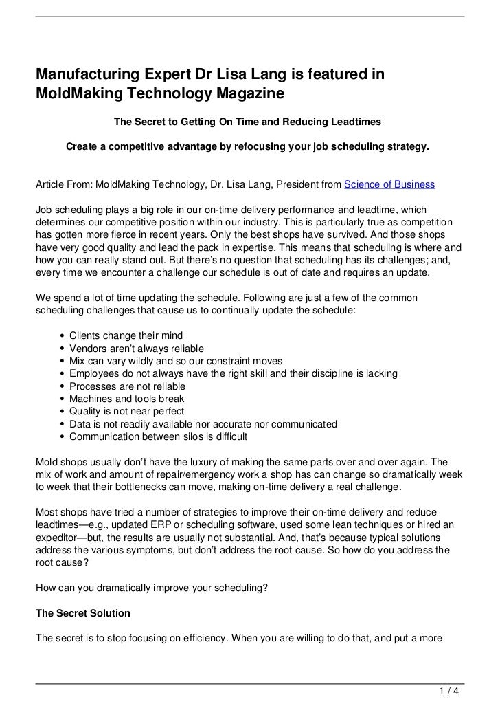 Manufacturing Expert Dr Lisa Lang is featured inMoldMaking Technology Magazine                 The Secret to Getting On Ti...