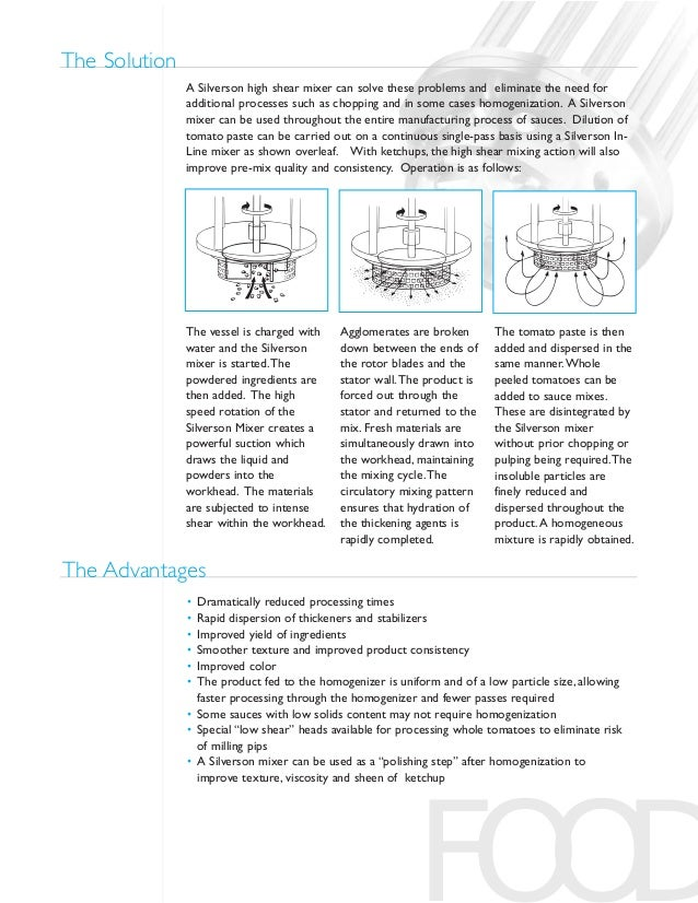 FOOD A Silverson high shear mixer can solve these problems and eliminate the need for additional processes such as choppin...