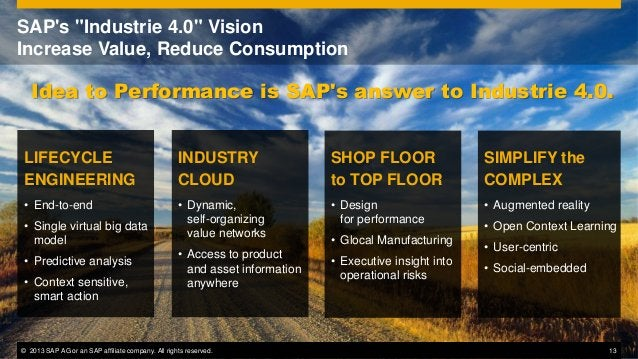 """SAP's """"Industrie 4.0"""" Vision Increase Value, Reduce Consumption  Idea to Performance is SAP's answer to Industrie 4.0. LIF..."""