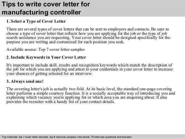 Manufacturing controller cover letter