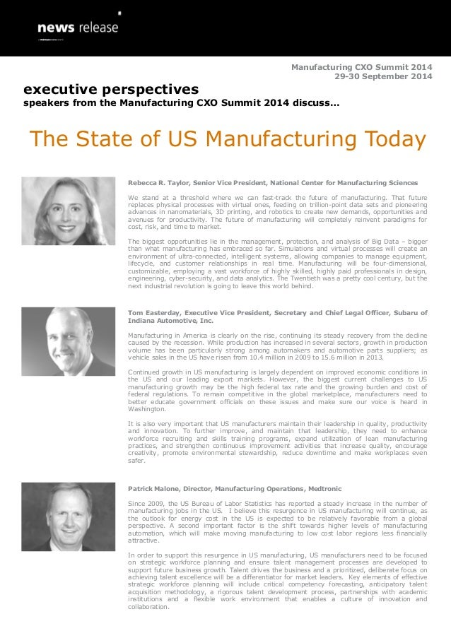 The State of US Manufacturing Today