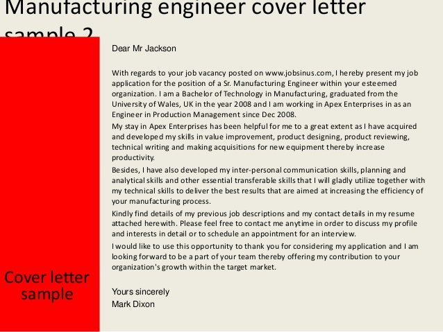 manufacturing engineer cover letters