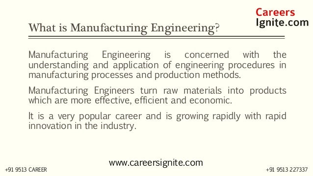 Manufacturing Engineering Courses, Colleges, Eligibility Slide 2