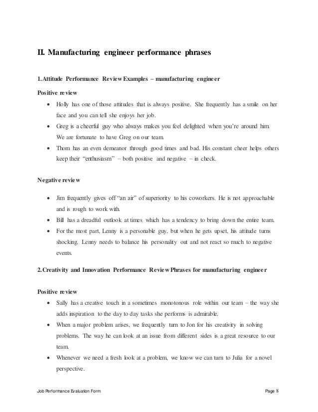 job performance evaluation form page 8 ii manufacturing engineer - Manufacturing Engineering Job Description