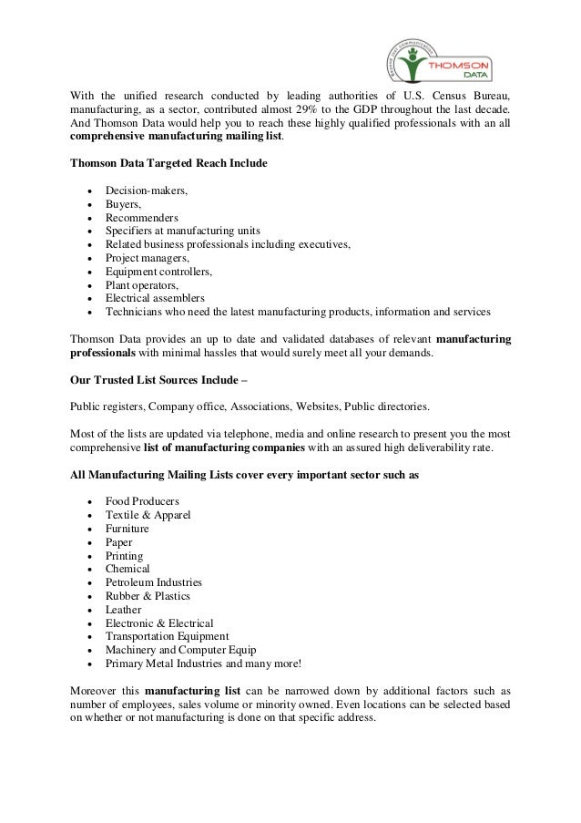 Manufacturing Professionals Email List - Manufacturing Email