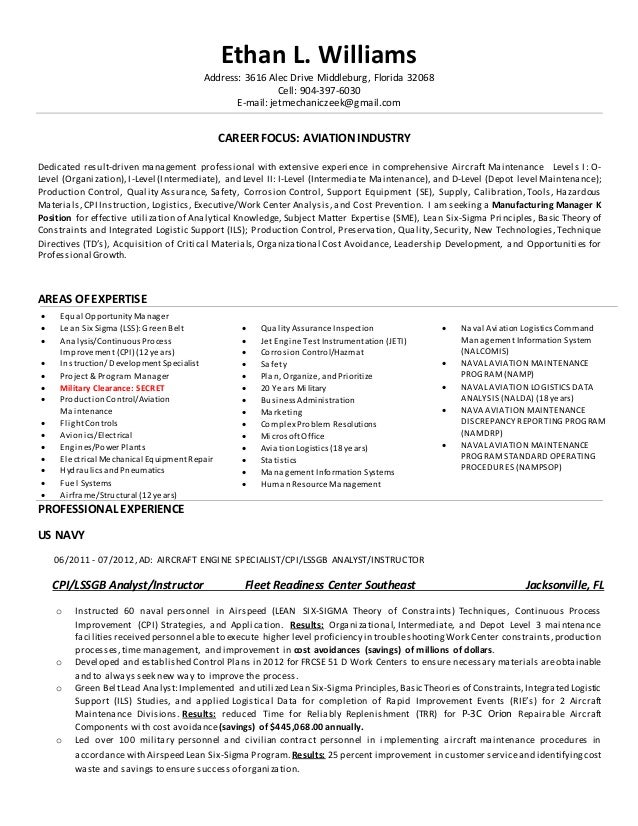 Manufacturing Manager K Resume Iv. Ethan L. Williams Address: 3616 Alec  Drive Middleburg, Florida 32068 Cell: 904 ...