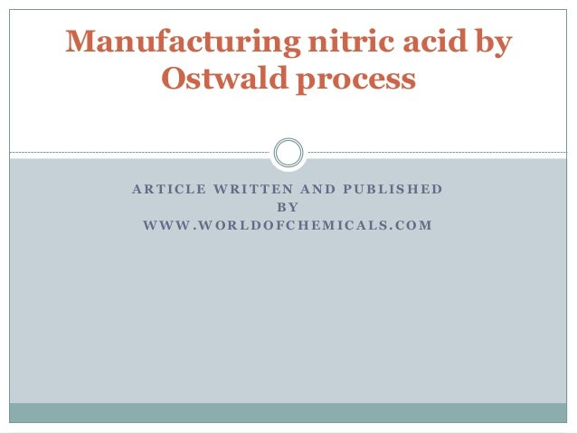 Manufacturing Nitric Acid By Ostwald Process
