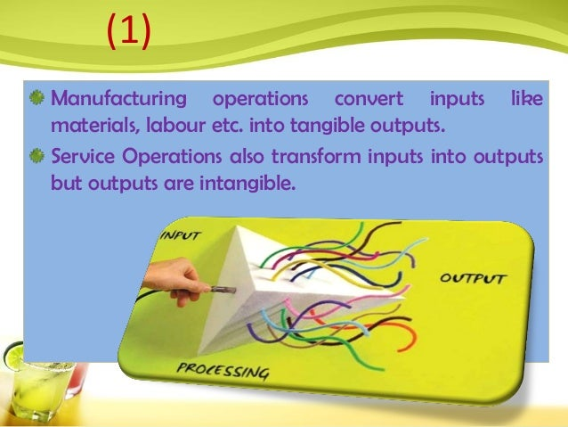 Manufacturing operations convert inputs like materials, labour etc. into tangible outputs. Service Operations also transfo...