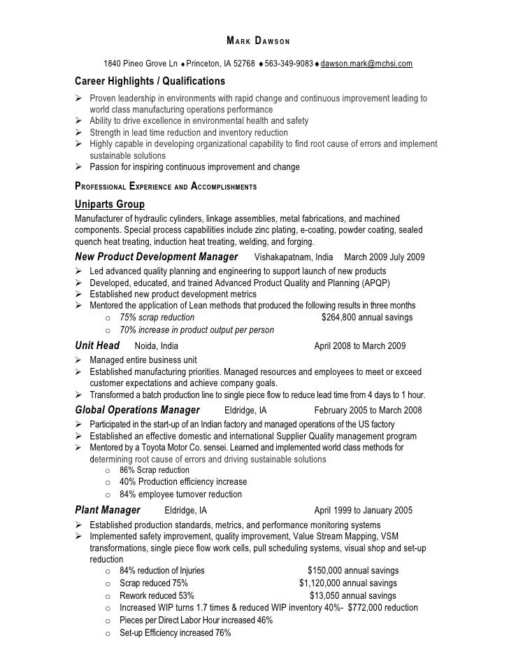 Manufacturing Operations Manager Resume Mark Dawson. MARK DAWSON 1840 Pineo  Grove Ln Princeton, IA 52768 563-349- ...