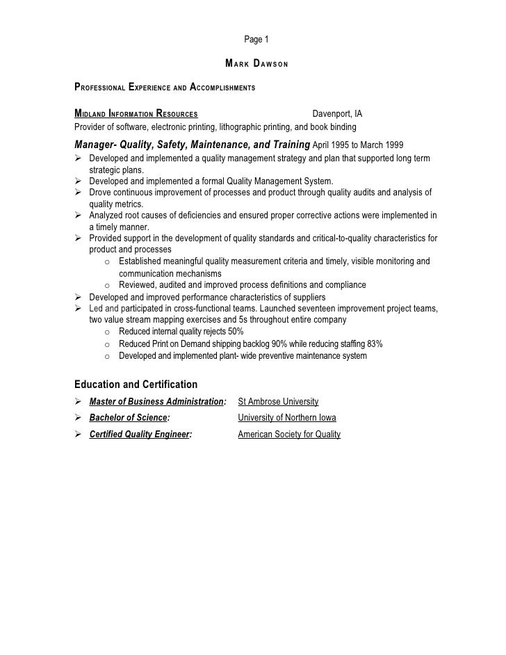 Manufacturing Operations Manager Resume Mark Dawson