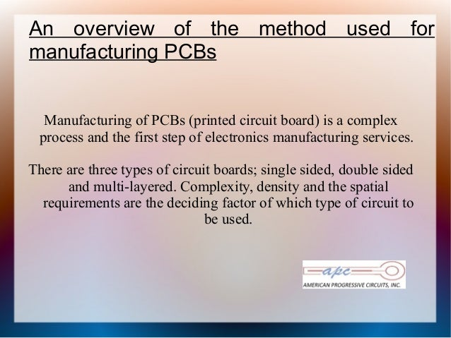 An overview of the method used formanufacturing PCBsManufacturing of PCBs (printed circuit board) is a complexprocess and ...