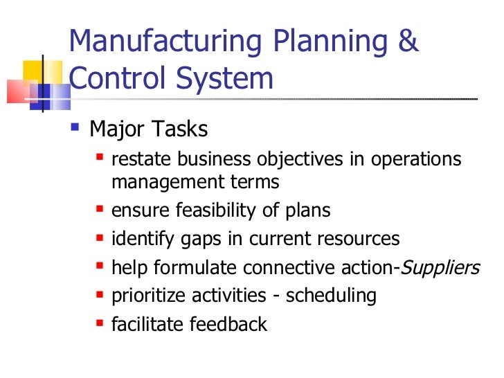 role of production planning and control in operation management