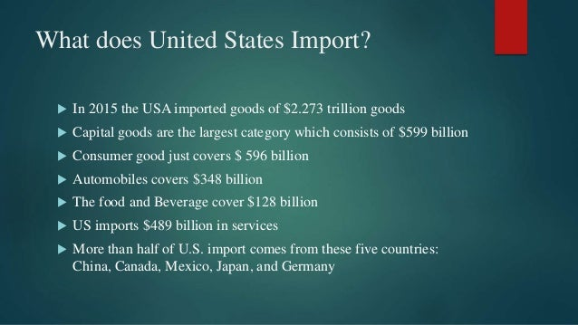 What does United States Import?  In 2015 the USA imported goods of $2.273 trillion goods  Capital goods are the largest ...