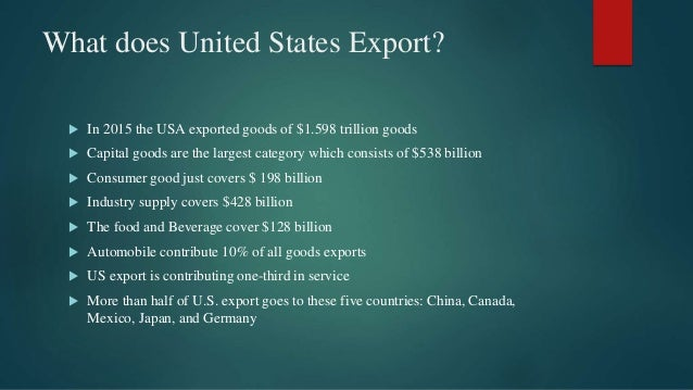 What does United States Export?  In 2015 the USA exported goods of $1.598 trillion goods  Capital goods are the largest ...