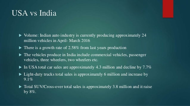 USA vs India  Volume: Indian auto industry is currently producing approximately 24 million vehicles in April- March 2016 ...