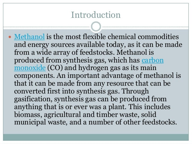 Manufacturing Process Of Methanol