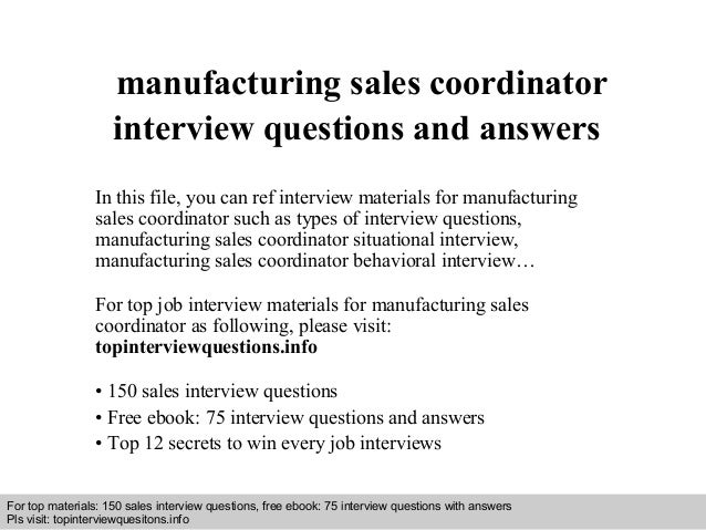 sales coordinator interview questions and answers youtube