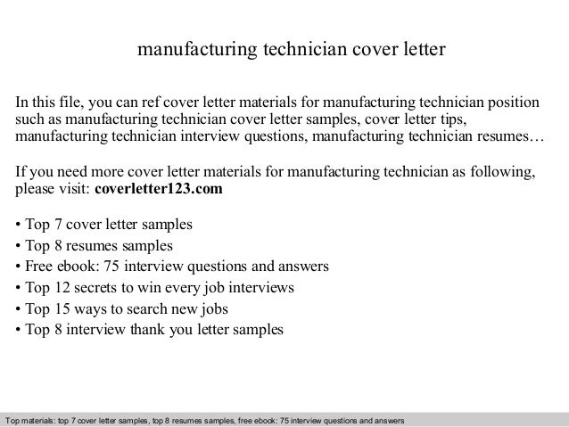 sample cover letter for manufacturing job - manufacturing technician cover letter